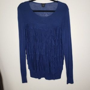 Ann Taylor Dark Blue Ruffled LS Knit Top
